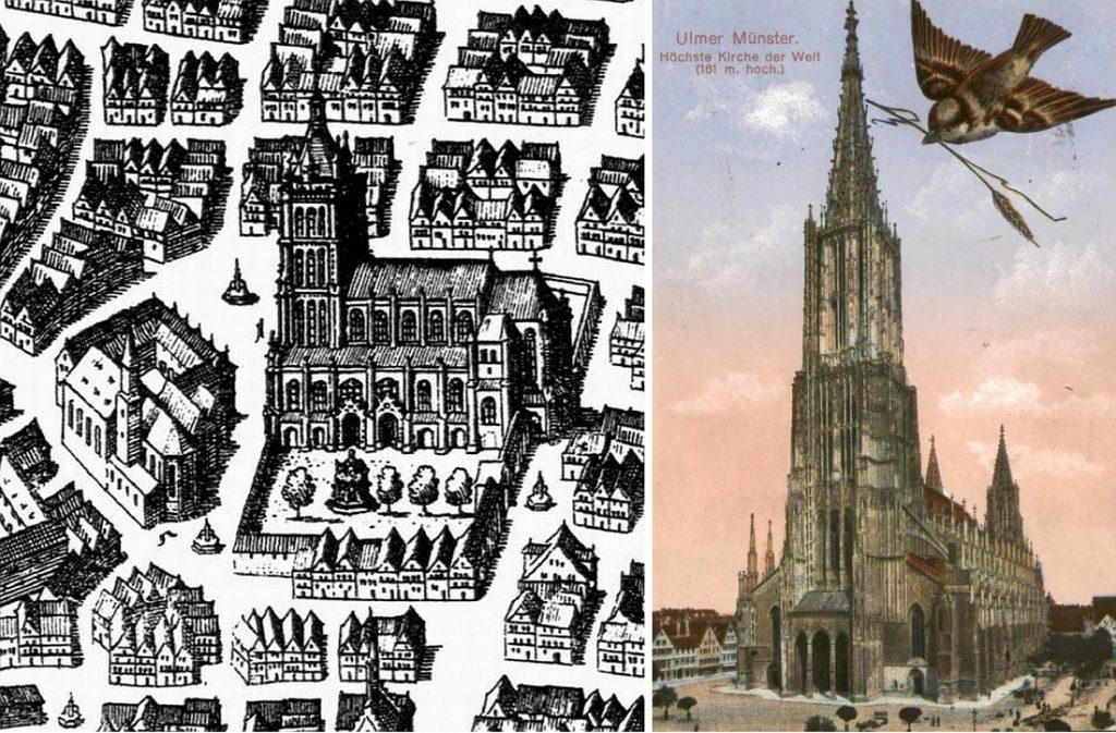 Um, Münsterplatz (links) 1643 und (rechts) um 1900 (Bilder: links: Merianstich, PD, rechts: historische Postkarte, PD)