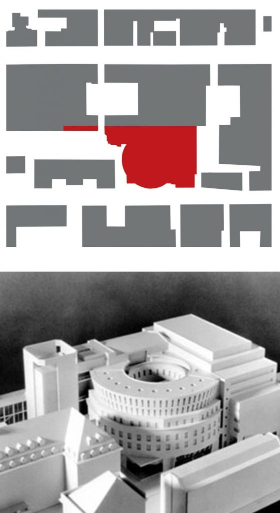 Mannheim, Kinocenter und Musikhochschule (Bild: Lageplan und Modell)